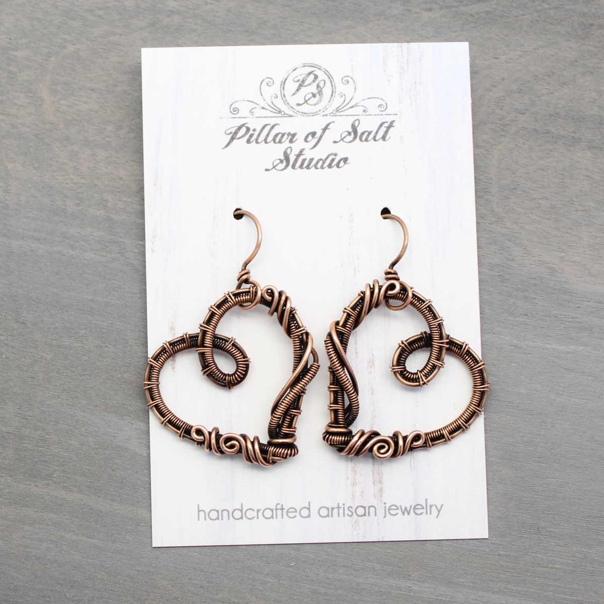 woven wire copper heart earrings jewelry Pillar of Salt Studio