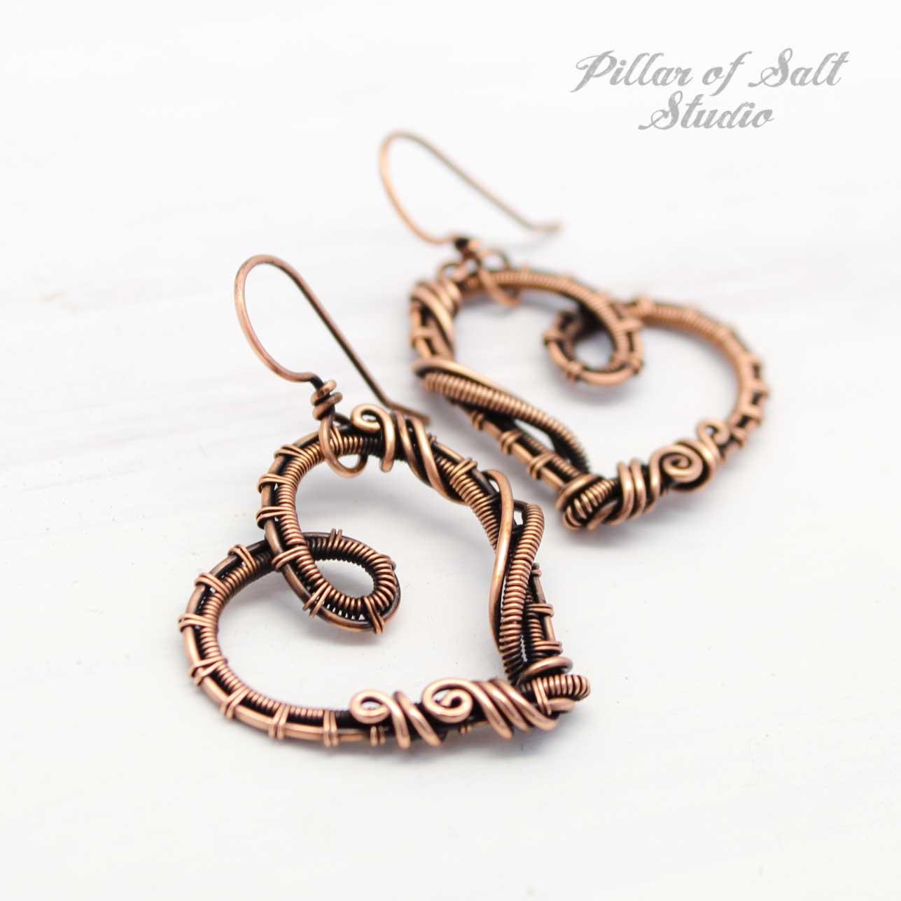 woven wire copper heart earrings Pillar of Salt Studio
