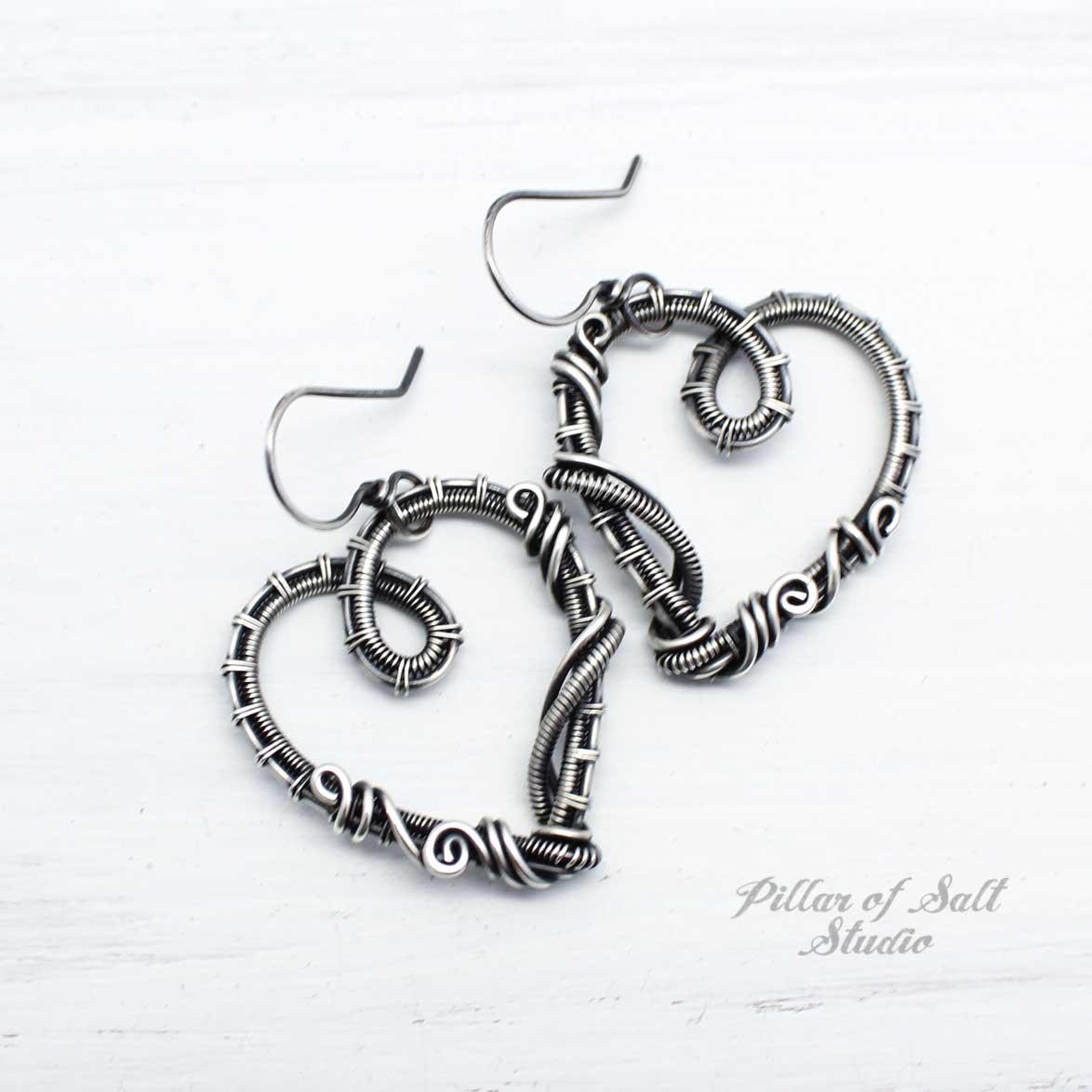 sterling silver wire wrapped heart earrings by Pillar of Salt Studio