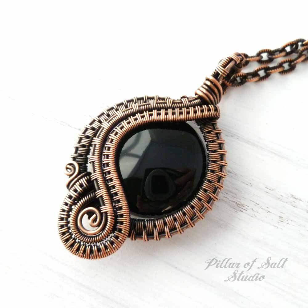 Black Onyx Woven Wire Wrapped Pendant Copper Necklace