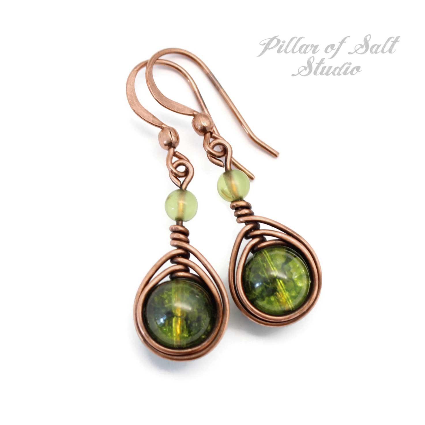 Green Peridot August birthstone earrings