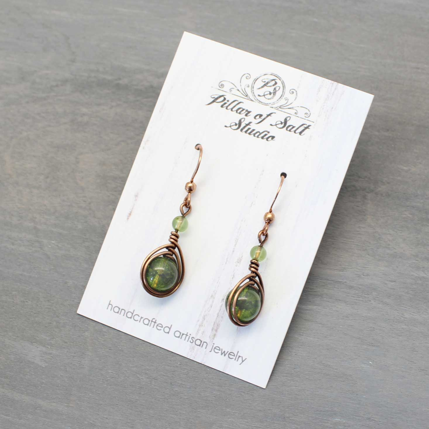 Peridot and copper wire wrapped earrings