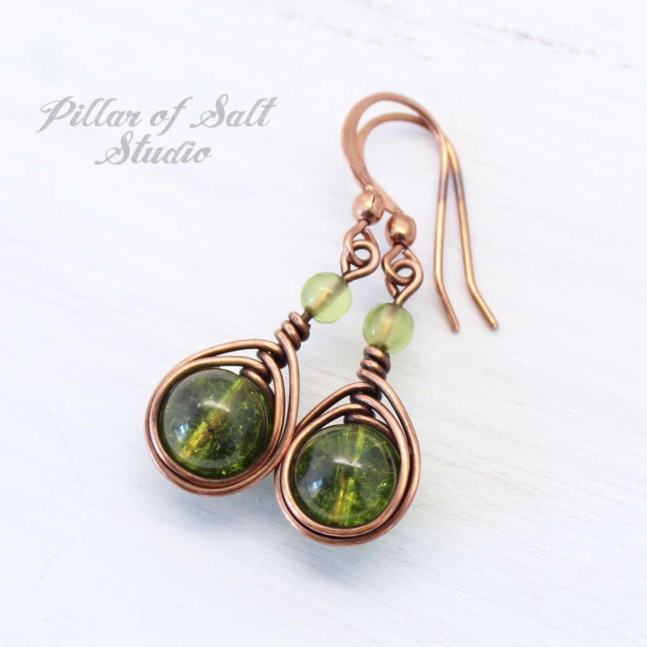 Peridot copper wire wrapped earrings by Pillar of Salt Studio