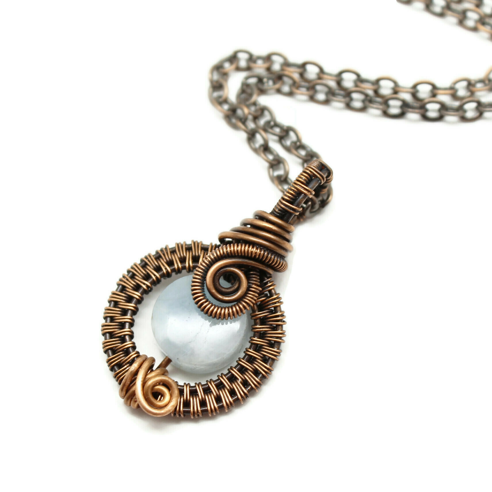 Light Blue Aquamarine gemstone wire wrapped copper pendant.