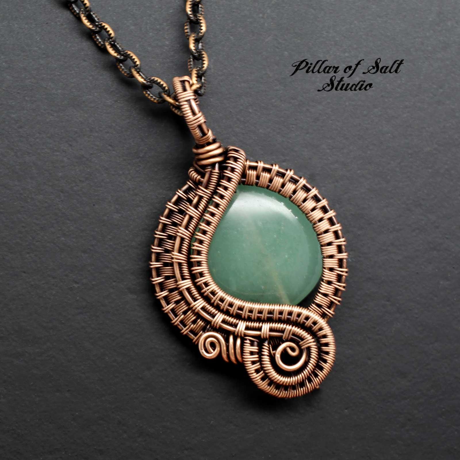 Green Aventurine Woven Wire Wrapped Pendant Copper Necklace