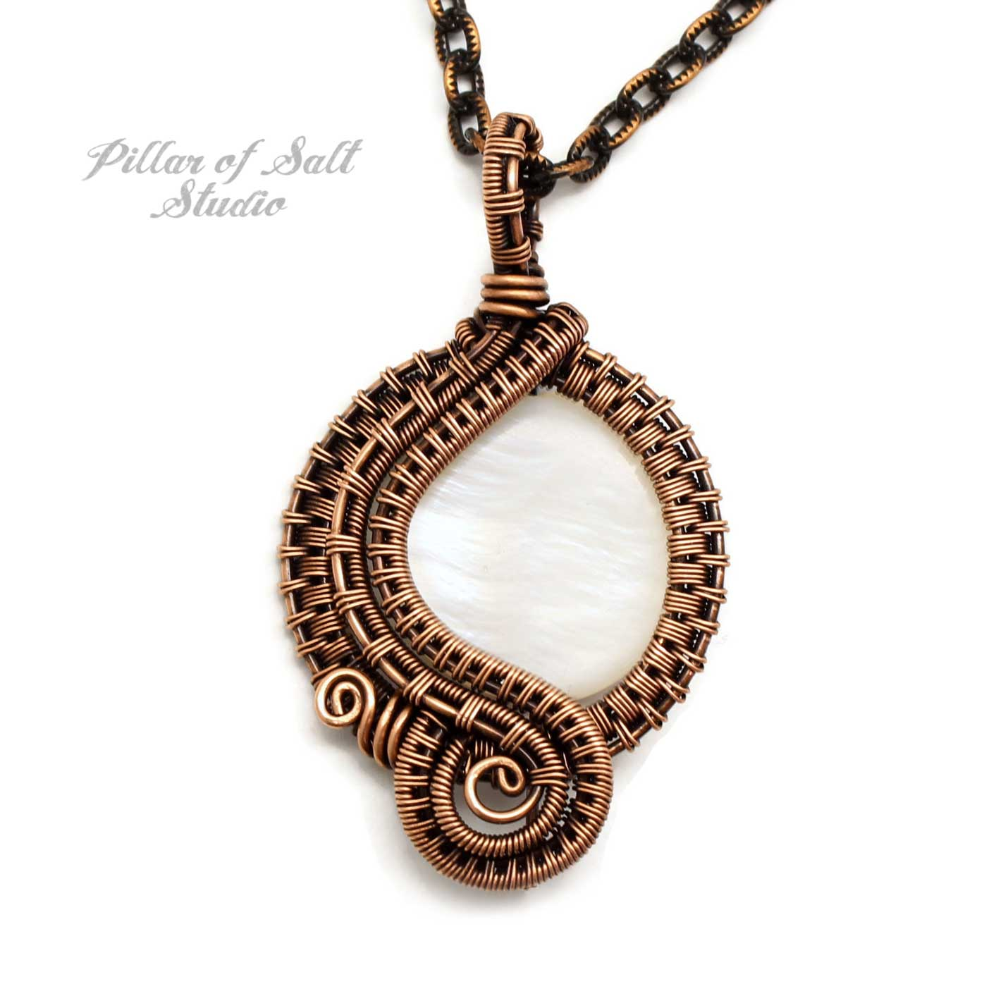 Mother of Pearl Woven Wire Wrapped Pendant Copper Necklace