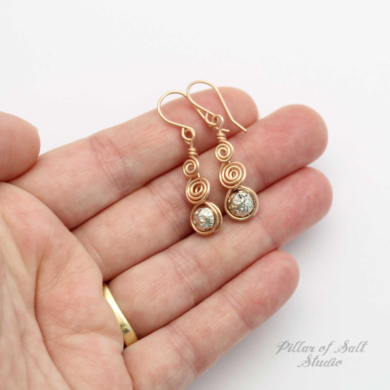 Curlicue Rose Gold Earrings (Silver Lava Rock)