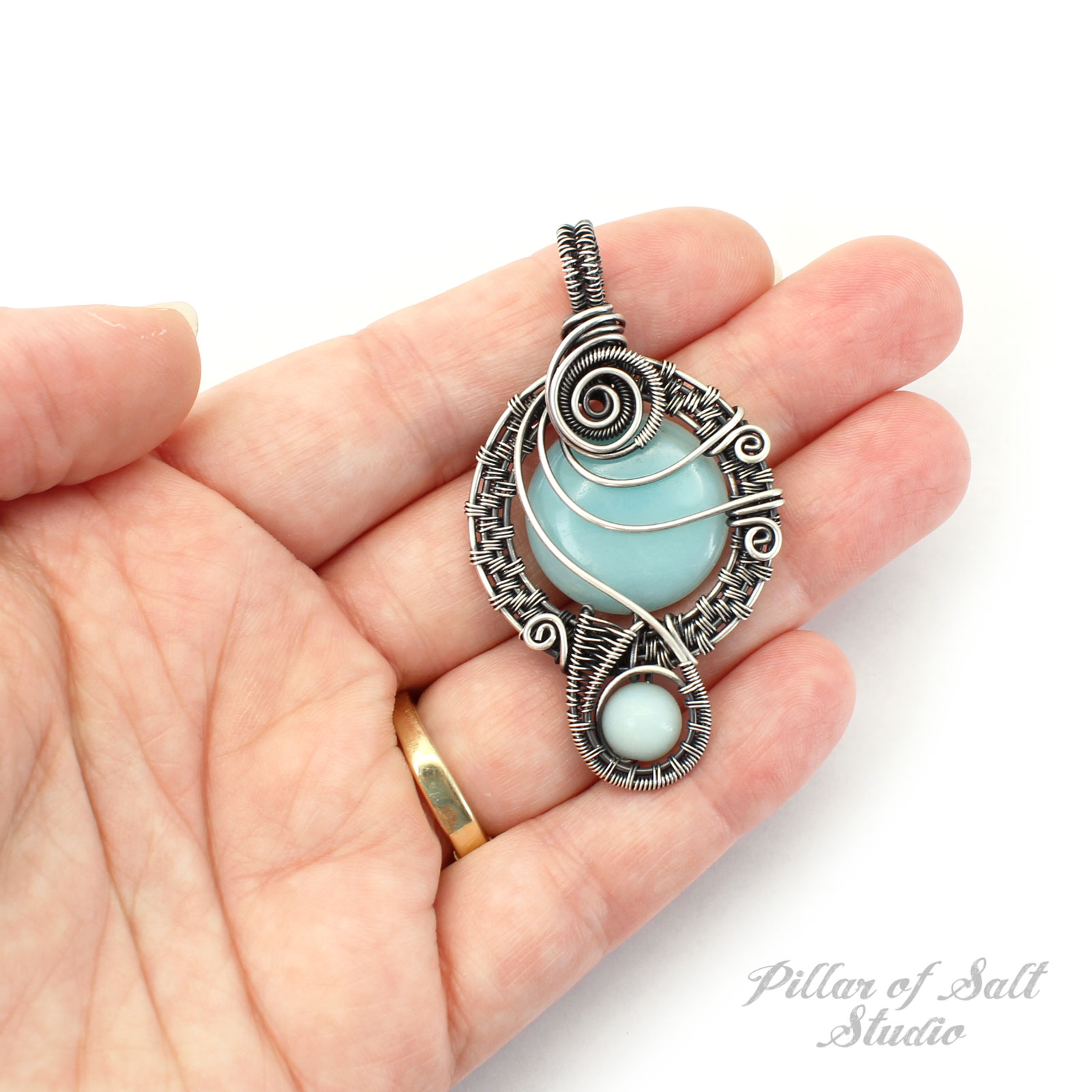 Amazonite in Sterling Silver Wire Wrapped Pendant