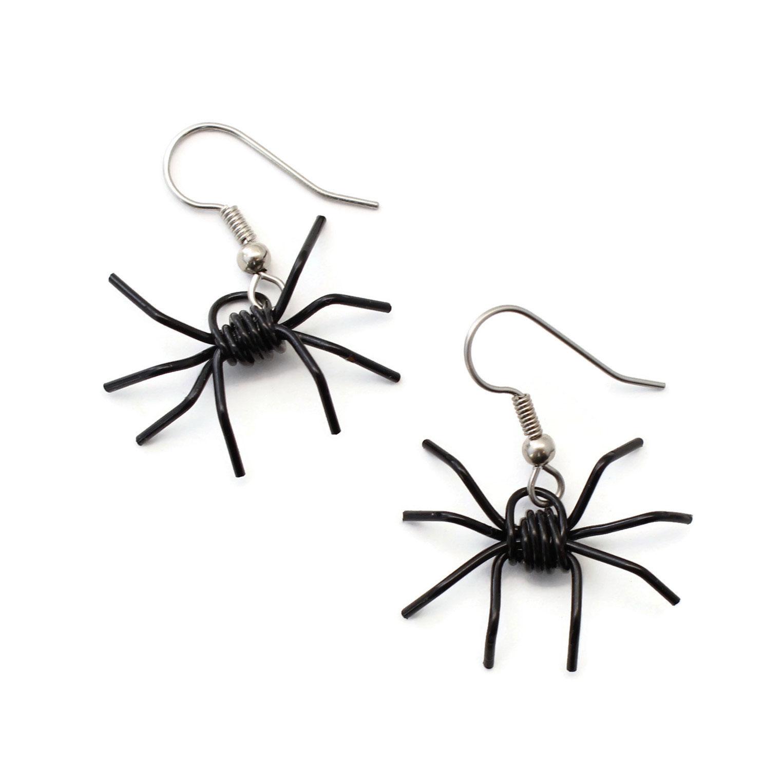 Handmade black spider earrings
