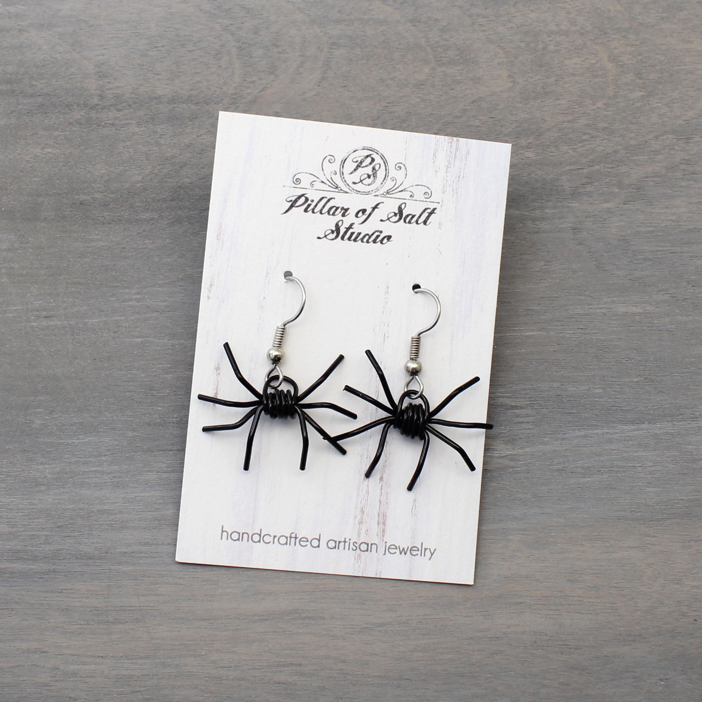 Pillar of Salt Studio wire wrapped spider earrings