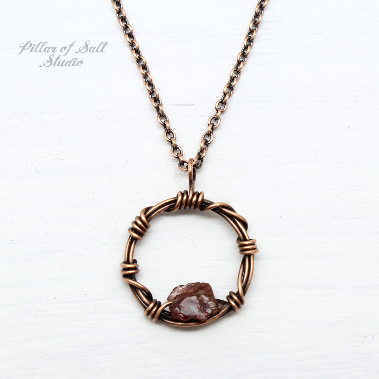 Garnet rough nugget copper wire wrapped circle pendant copper necklace
