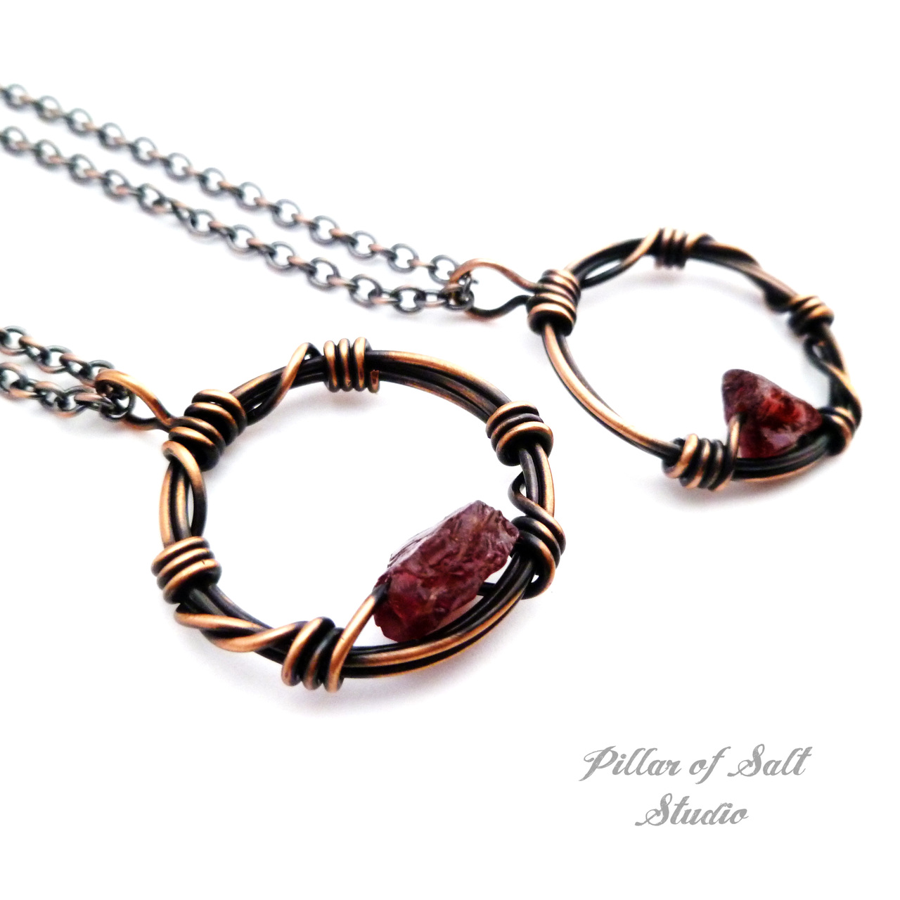 Copper wire wrapped circle pendant rough gemstone jewelry by Pillar of Salt Studio