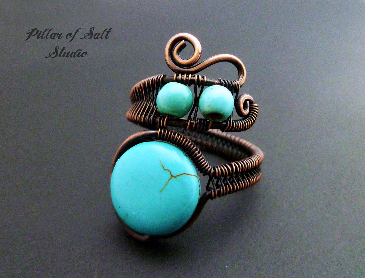 Copper wire wrapped boho ring / Pillar of Salt Studio