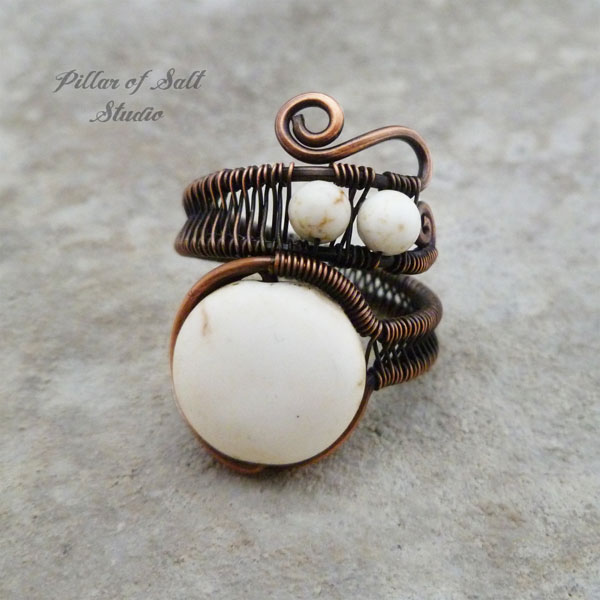 white magnesite adjustable copper wire wrapped ring by Pillar of Salt Studio