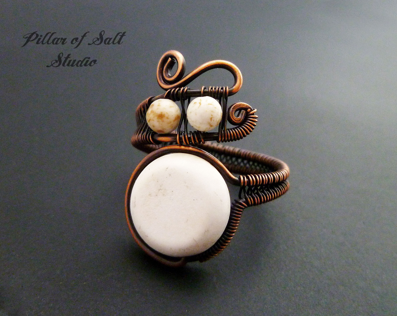 White howlite boho ring copper wire wrapped jewelry