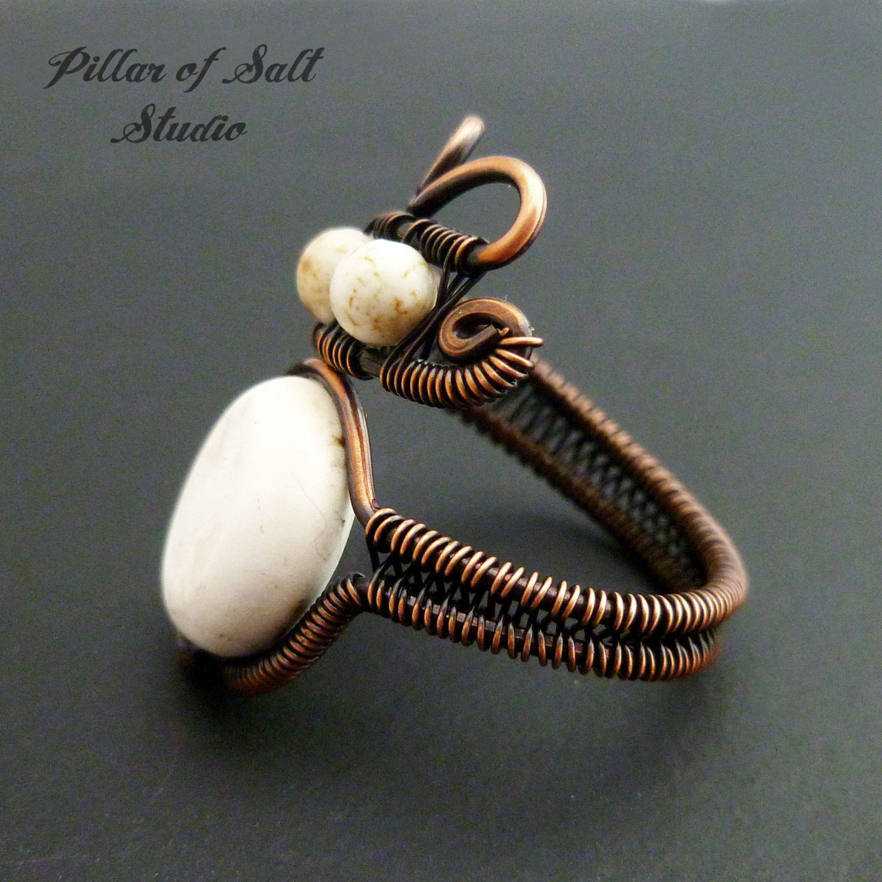 wire wrapped ring with white howlite stones, available in any size