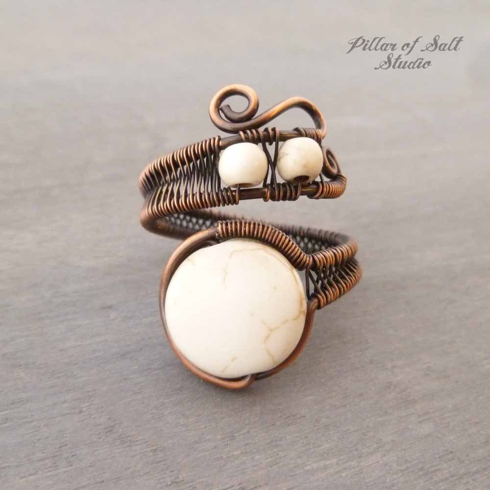 White Howlite adjustable copper wire wrapped ring