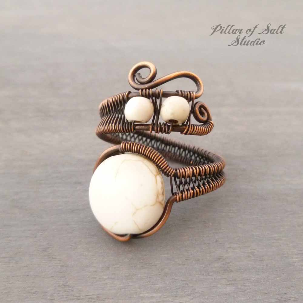 copper wire wrapped ring with woven band by Pillar of Salt Studio