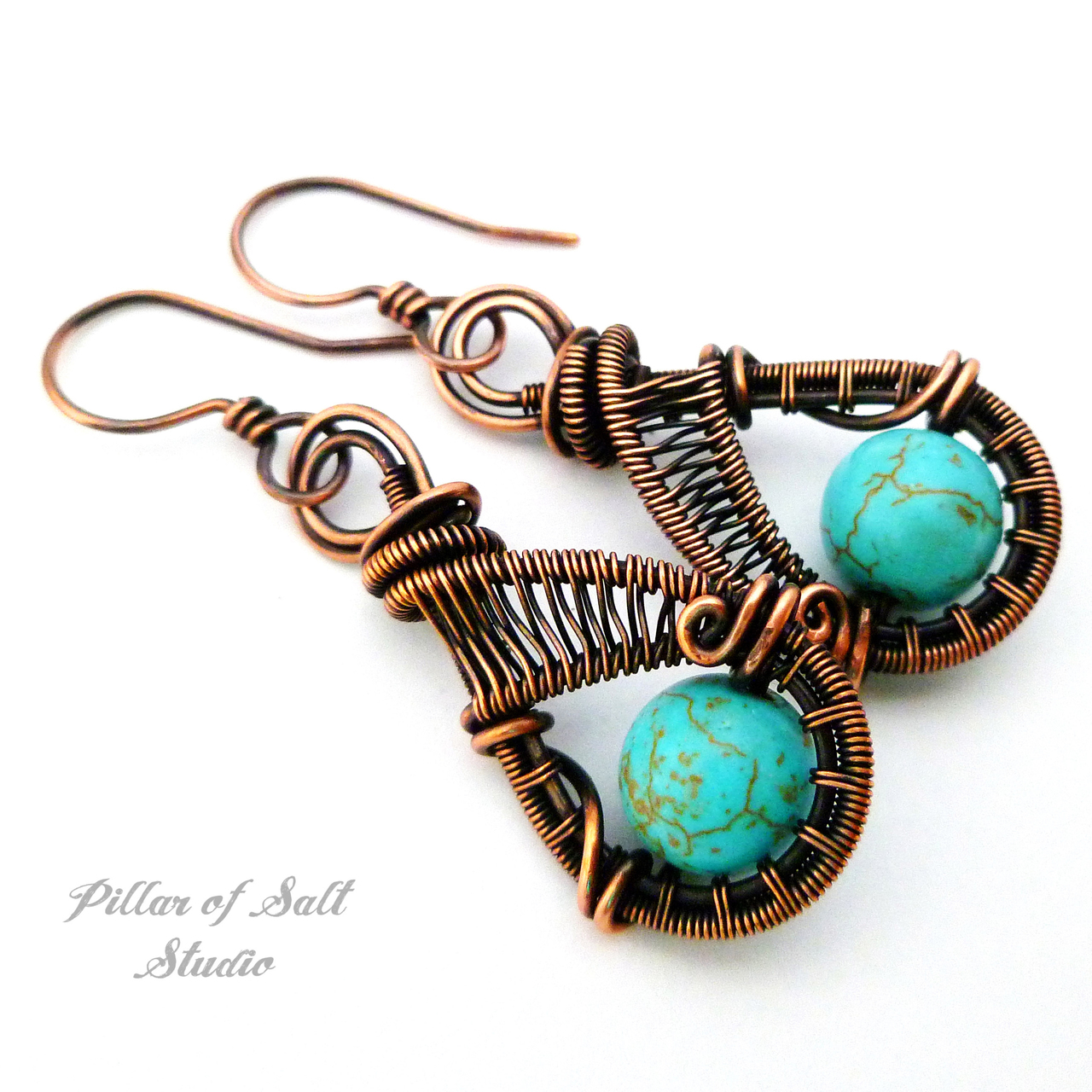 solid copper earrings with turquoise magnesite stones