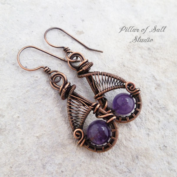 Handcrafted Amethyst and copper wire wrapped earrings by Pillar of Salt Studio