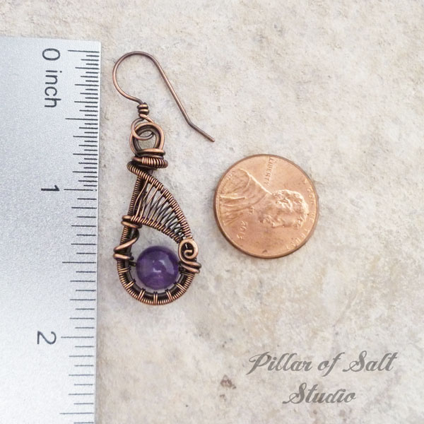 wire wrapped amethyst earrings