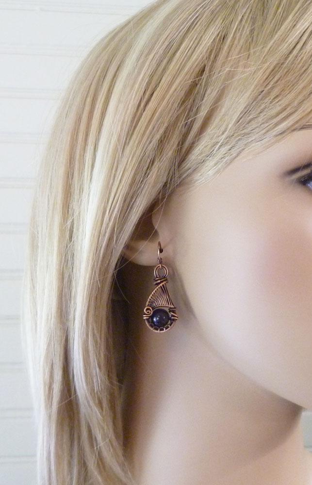 Copper wire wrapped amethyst earrings by Pillar of Salt Studio