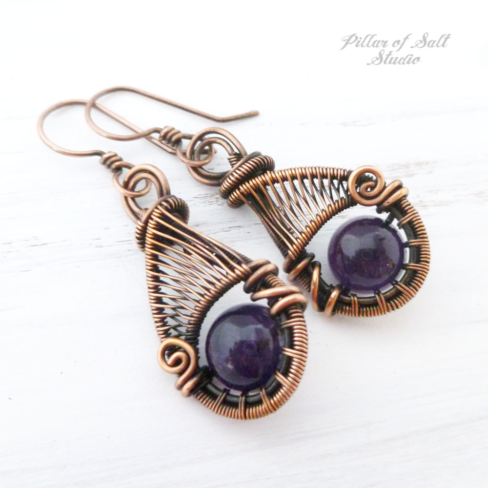 6th wedding anniversary Amethyst jewelry by Pillar of Salt Studio