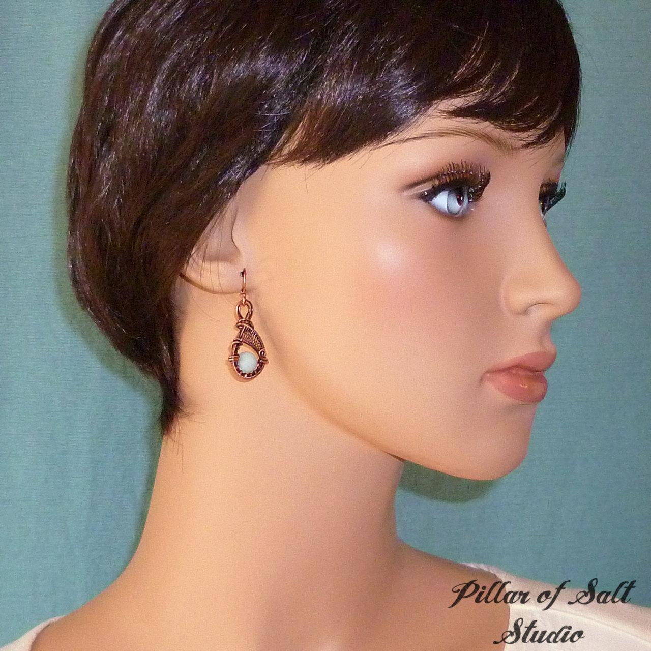 woven wire earrings with Amazonite gemstones by Pillar of Salt Studio