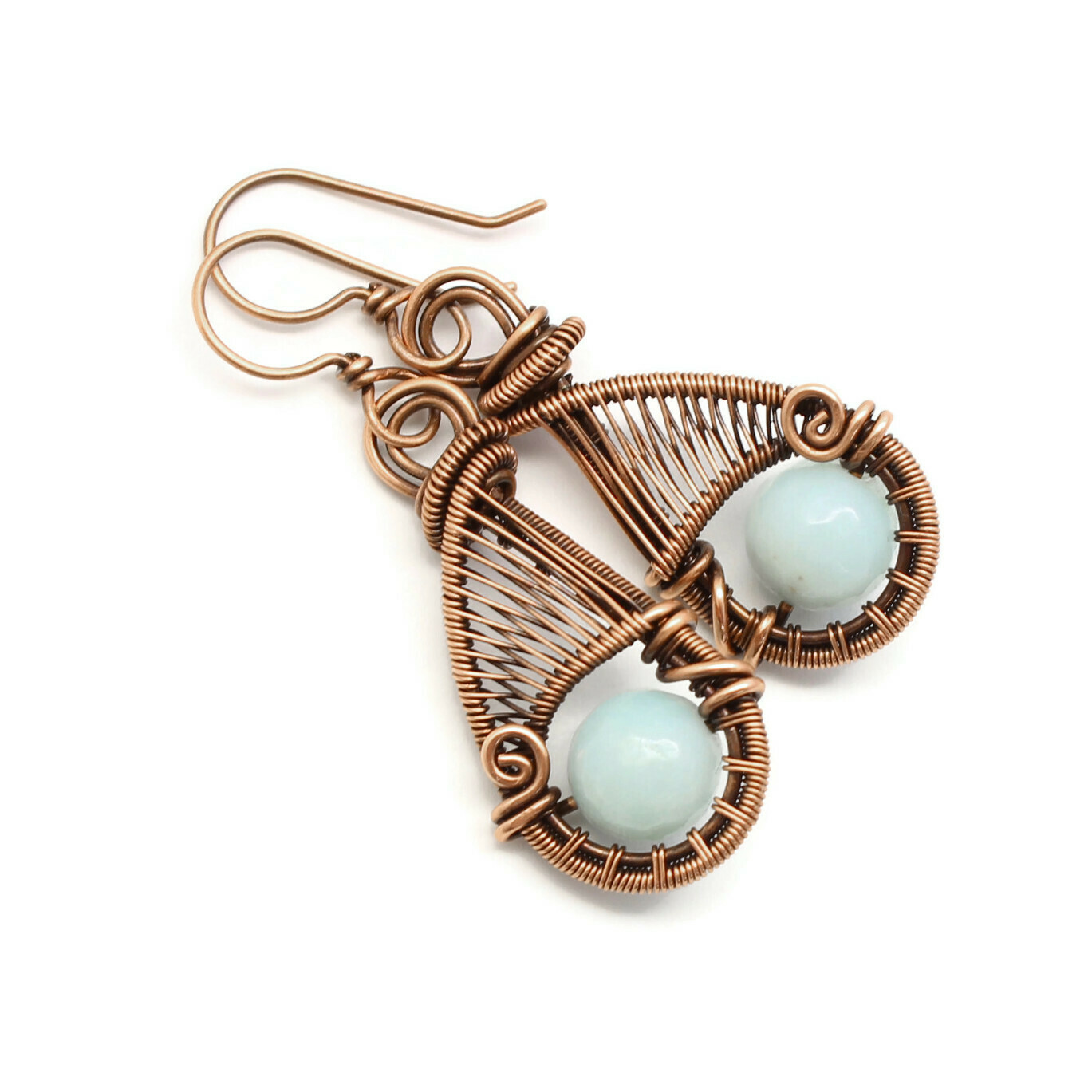 Copper woven wire earrings with amazonite gemstones.