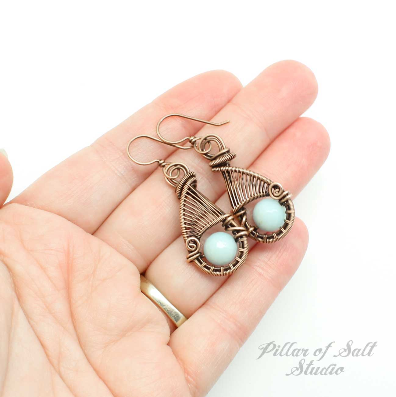 Amazonite and copper wire wrap earrings.