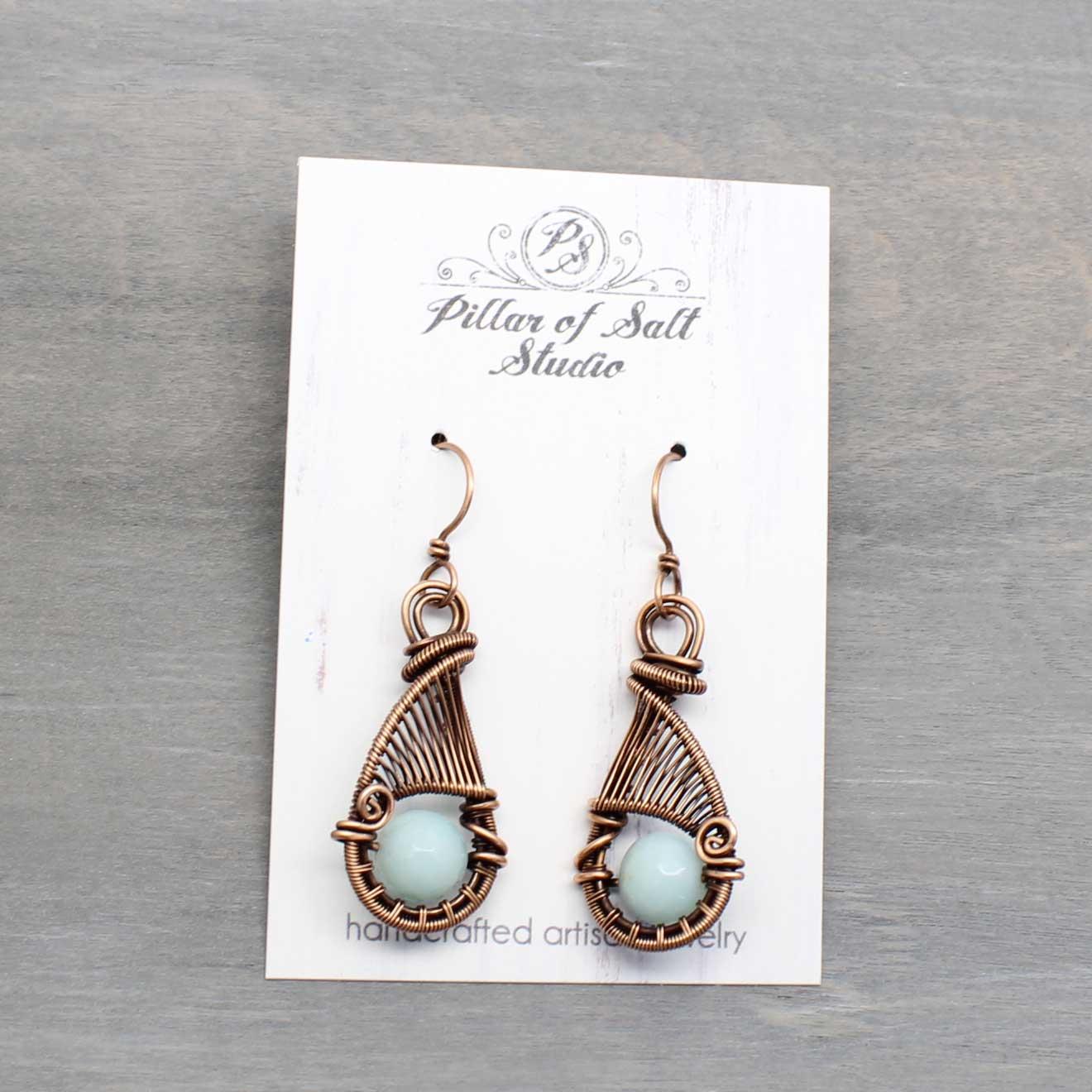 Pillar of Salt studio copper wire wrapped earrings.