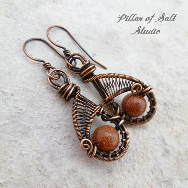 Brown Goldstone wire wrapped copper earrings by Pillar of Salt Studio