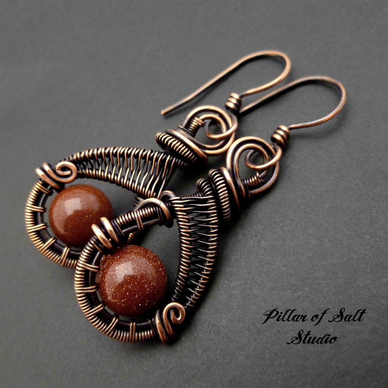 Woven wire wrapped earrings Copper jewelry by Pillar of Salt Studio