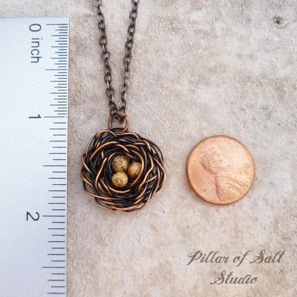 wire wrapped birds nest pendant by Pillar of Salt Studio