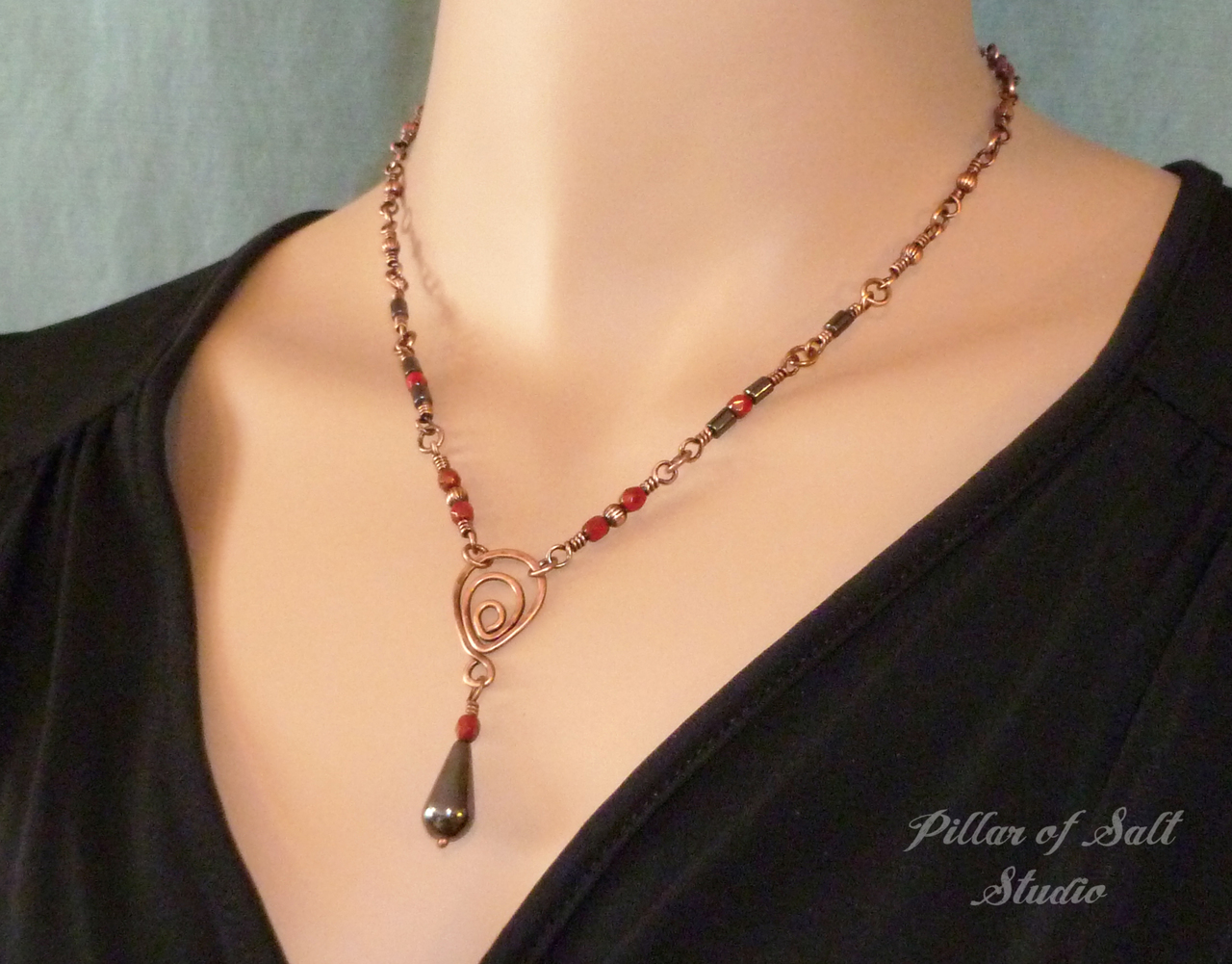 Copper wire wrapped necklace as seen on The Vampire Diaries by Pillar of Salt Studio