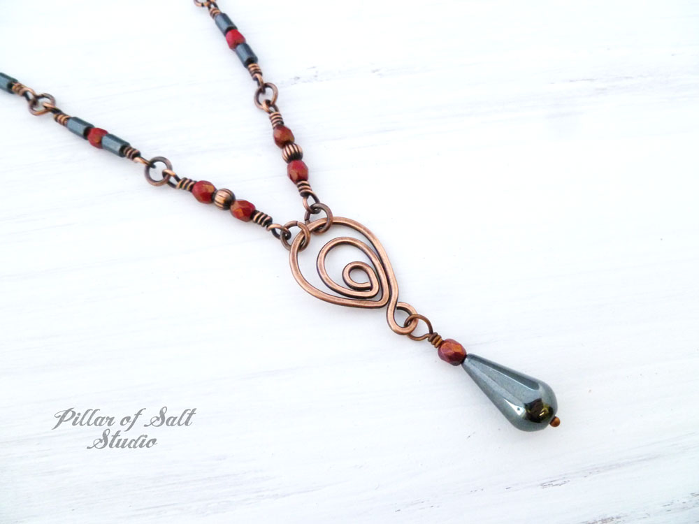 Copper Wire Wrapped Necklace Worn On The Vampire Diaries