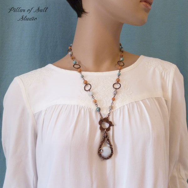 wire wrapped necklace worn on TV Cedar Cove by Pillar of Salt Studio