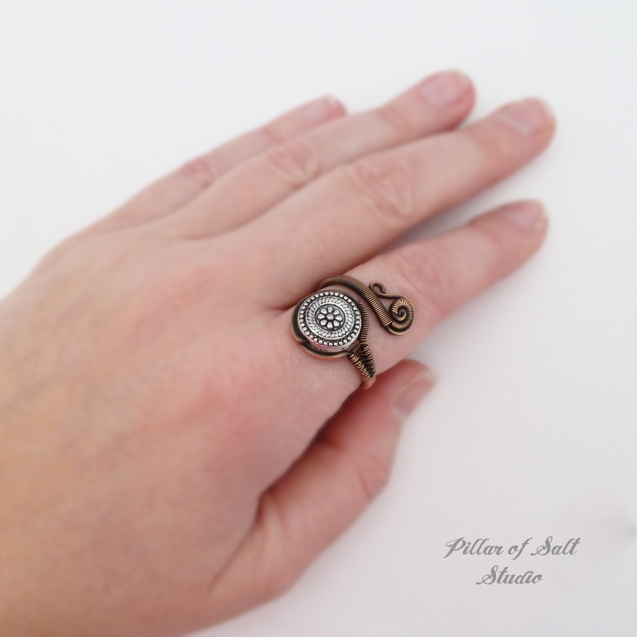 mixed metal copper adjustable wire wrapped ring