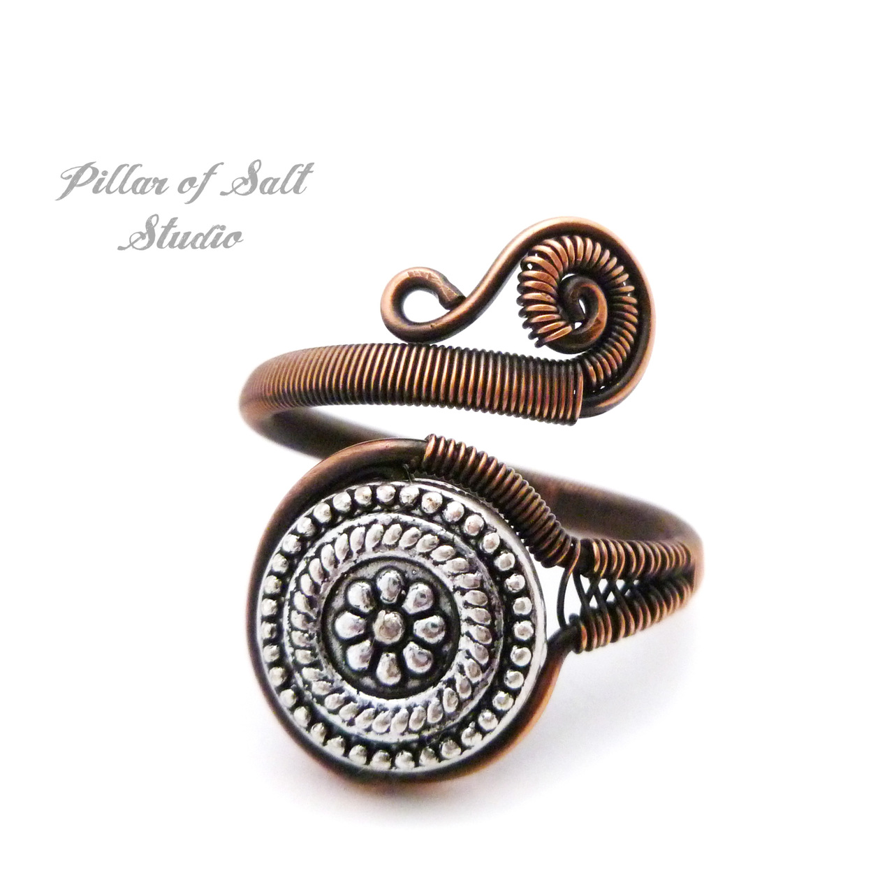 Adjustable copper wire wrapped ring by Pillar of Salt Studio