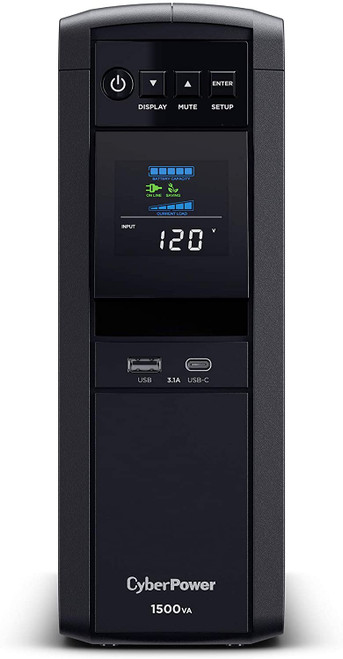 CyberPower CP1500PFCLCD PFC Sinewave UPS System, 1500VA/1000W, 12 Outlets, AVR, Mini Tower Black