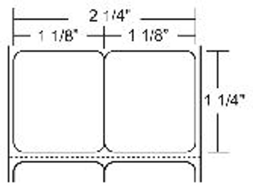 "10010051 Zebra Z-Select 4000D (Center vertical slit creating two 1.125"" x 1.25"" labels) 2.25x1.25 Paper Label 6/Case   10010051"