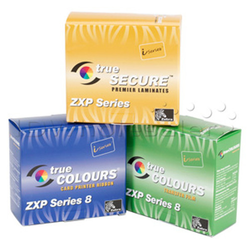 Zebra i Series Color Ribbon for ZXP Series 8, 5 Panel YMCUvK, 500 images 800012-543 | 800012-543