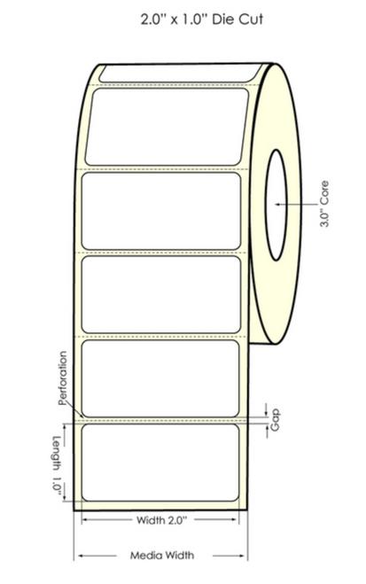 "EPSON High Gloss Polypropylene 2"" x 1"" LABEL - C7500"