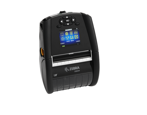 """Zebra ZQ620 3"""" Mobile Printer; Direct Thermal; English fonts, Dual 802.11AC / BT4.x, Linered platen, 0.75"""" core, Group 0, Ext Battery"""