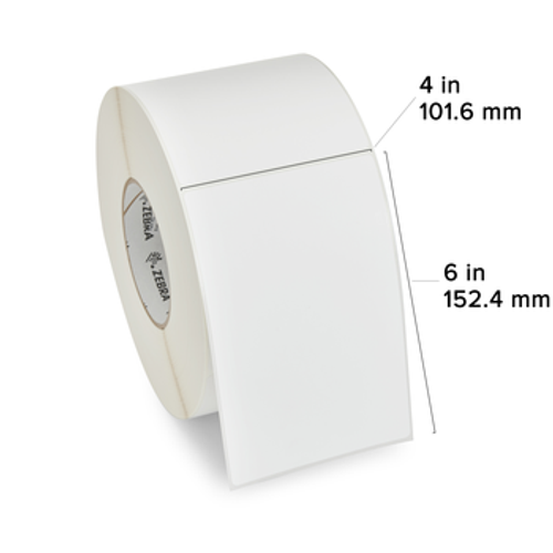 10021228 - Label, Paper, 4x8in, Thermal Transfer, Z-Perform 1500T, 3in core, 4 rolls/carton