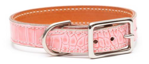 Prestige Pink Crocodile Pet Collar
