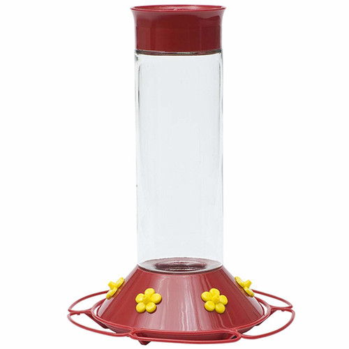 Our Best Glass Hummingbird Feeder, Red, 30 OZ