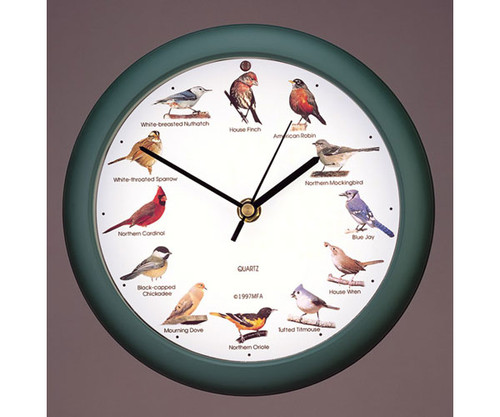 Original Singing Bird Clock 8 Inch, Green