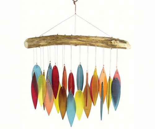 Santa Fe Colors Leaves & Driftwood Glass Chime