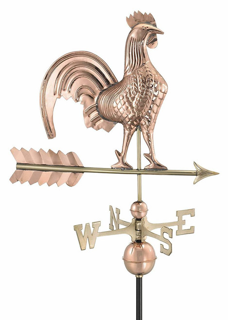Rooster Weathervane - Polished Copper